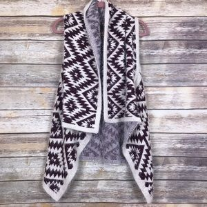 Waterfall fuzzy Aztec duster sweater one size R